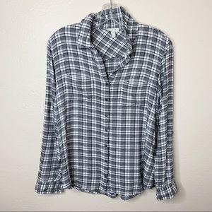 Soft Joie Black & White Plaid Button Up Shirt XS